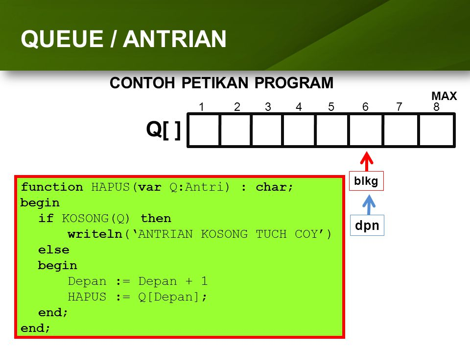 ARRAY (LARIK) QUEUE / ANTRIAN Q[ ] CONTOH PETIKAN PROGRAM